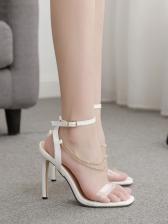 Trendy Chain Decor Square Toe Womens Sandals