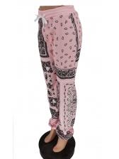 Drawstring Waist Printed Casual Jogger Pants