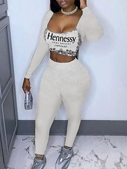 Deep U Neck Long Sleeve Print Crop Top And Pants