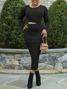 Plus Size Black Long Sleeve One Piece Dress