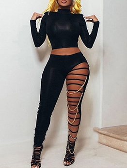 Sexy Mock Neck Hollow Out Black Crop Top And Pants Set