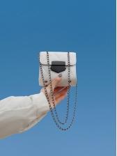 Metal Hasp Women Rhombic Bag With Chain