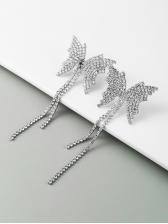 Fashion Butterfly Rhinestone Tassel Earrings