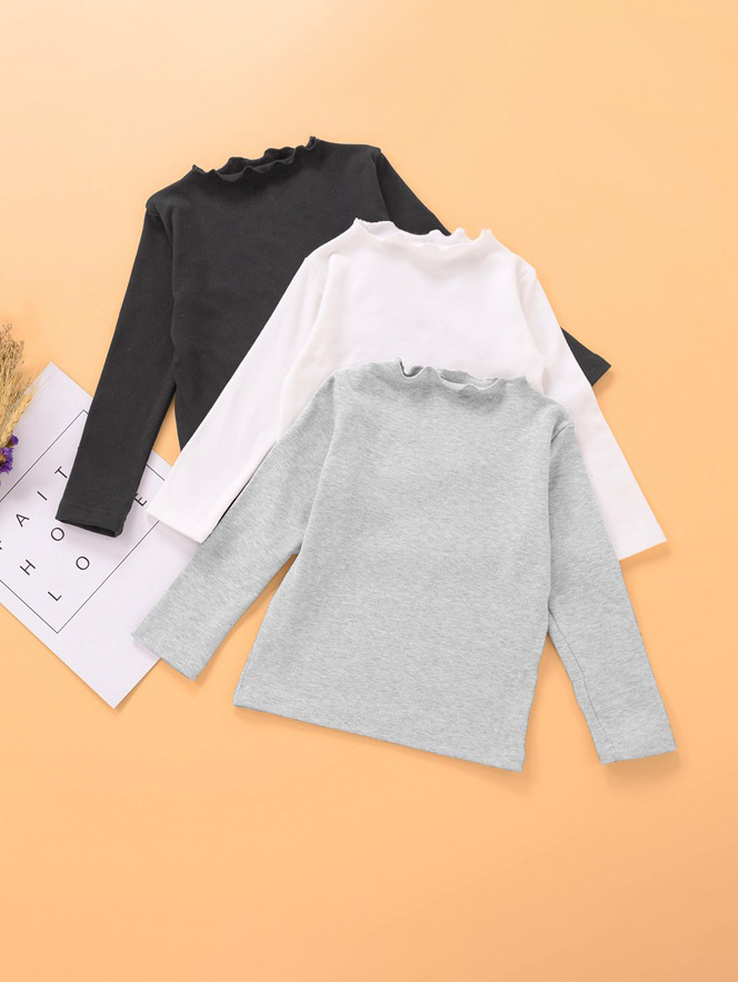 Stand Neck Solid Long Sleeve T-Shirt For Girls