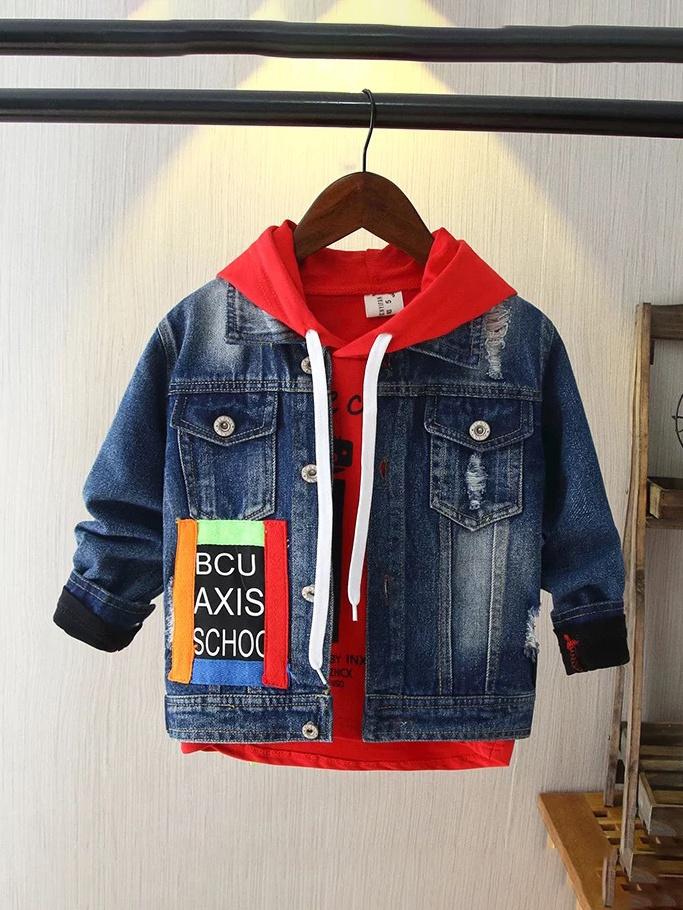 Fashion Turndown Neck Letter Print Boys Denim Jacket