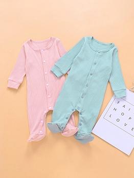 Single-Breasted Crew Neck Long Sleeve Baby Sleepsuit