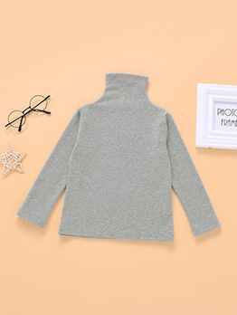 Easy Matching Solid Turtleneck T-Shirt For Kids