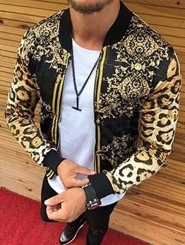Street Leopard Print Mens Casual Coat