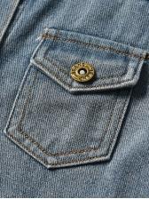 Vintage Style Long Sleeve Denim Jacket For Kids