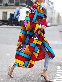 Stylish Geometric Printed Long Sleeve Plus Size Coats