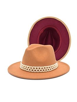 Faux Pearl Ribbon Wide Brim Fedora Hat