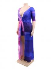 Gradient Color Short Sleeve Plus Size Two Piece Sets