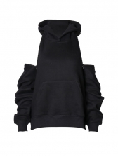 Chic Zipper Design Solid Color Cool Hoodie