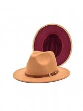 Contrast Color Women Belt Buckle Fedora Hat