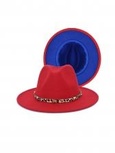 British Style Contrast Color Wide Brim Fedora Hat