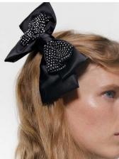 Rhinestone Decor Bow Big Hair Clips