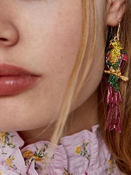 National Style Rhinestone Parrot Earrings