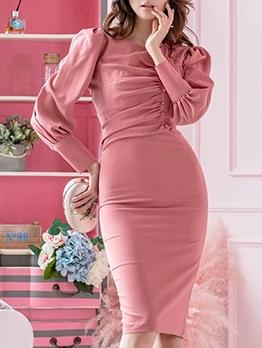 Sexy Puff Sleeve Solid Long Sleeve Dress