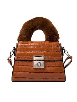 Alligator Pattern Plush Handle Shoulder Bags For Women
