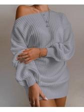 Solid Boat Neck Lantern Sleeve Sweater Dress