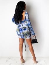 Fashion Printed Ruched Drawstring Long Sleeve Short Dress
