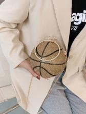 Rhinestone Basketball Round Chain Shoulder Bag