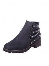 Fashion Rhinestone Side Zipper Heeled Ankle Boots