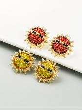 Sun Flower Shape Rhinestone Trendy Earrings
