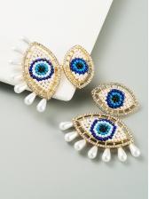 Eyes Shape Faux-Pearl Rhinestone Chic Earrings