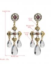 Vintage Cross Rhinestone Temperament Earrings