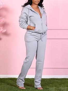 Casual Hooded Collar Zipper Up Women Winter Sets