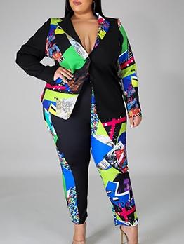 Plus Size Print Long Sleeve Casual Women Suit