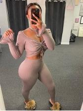 Off Shoulder Twist Crop Top And Pants Set