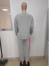 Letter Loose Sweatshirt Two Piece Pants Set