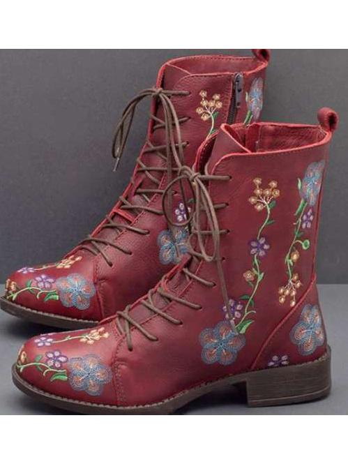 Round Toe Printed Low-Heel Combat Boots