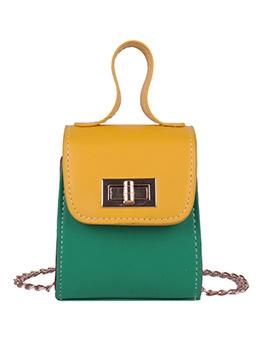 Trendy Color Block Mini Chain Shoulder Bag