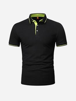 Contrast Color Short Sleeve Mens Shirt