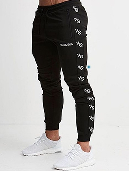 Casual Pencil Print Tracksuit Bottoms