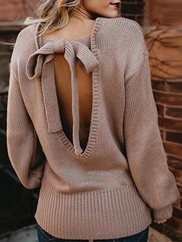 Open Back Tied Sweaters For Women