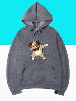 Hip Hop Cartoon Dog Print Sweatshirt Fall
