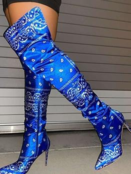 Euro Glossy Printed High Heel Thigh High Boots