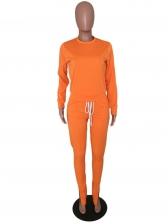 Sporty Bright Color Mock Neck 2 Piece Pants Set