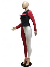 Contrast Color Button Up Skinny 2 Piece Pants Set