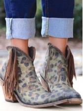 Stylish Tassels Leopard Printed Heeled Boots