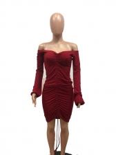 Off Shoulder Solid Long Sleeve Maxi Dress