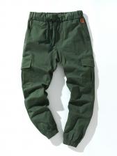 Solid Pocket Cargo Long Pants Men