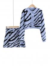 Animal Print Button Up Two Piece Skirt Set