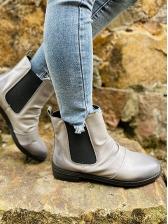Retro Patchwork Chunky Heel Chelsea Boots