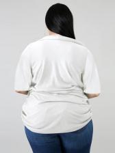 Loose v Neck Solid Plus Size Blouses