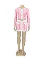 Geometric Printing Long Sleeve Two Piece Skirt Set